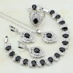 925 Sterling <b>Silver</b> Jewelry Black Cubic Zirconia White CZ Jewelry Sets For Women Wedding Earring/Pendant/Necklace/<b>Bracelet</b>/Ring
