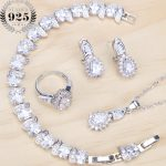 White Zirconia Bridal 925 Sterling Silver <b>Jewelry</b> Sets Women Wedding Rhinestone Earrings Bracelets Ring <b>Necklace</b> Set Gifts Box