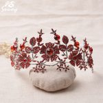 Snuoy Silver Red Flower Crowns Tiaras Wedding Hair <b>Jewelry</b> Gules Rinestone Female Hair Accessories 2018 New Highly Trendy Tiara