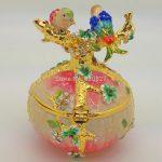 Free Shipping – Vintage Hand Painted Love Birds Faberge Egg Czech Rhinestone <b>Jewelry</b> Trinket Box for Decoration Gift Box