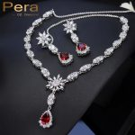 Pera CZ Sparkling Silver Color Red Long Water Drop Cubic Zirconia Stone Luxury Big Bridal Wedding <b>Jewelry</b> Sets For Brldes J155