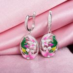 RainMarch Bohemian Enamel Flower Silver Earrings For Women Engagement 925 Sterling Silver Earring <b>Handmade</b> Enamel Party <b>Jewelry</b>