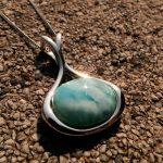 DJ CH Vase Shape Larimar Necklace Larimar Pendant <b>Handmade</b> Natural Dominican Gemstone Bead 925 Sterling Silver <b>Jewelry</b> Gifts