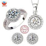 YHAMNI Brand 925 Sterling <b>Silver</b> Wedding Dress Jewelry Sets Luxury CZ Diamant Pendant Necklace <b>Earrings</b> Ring Set For Women YS013