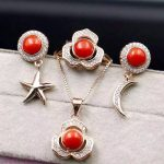 Natural red coral gem jewelry sets natural gemstone ring <b>Earrings</b> Pendant 925 <b>silver</b> party Star Moon women wedding party jewelry