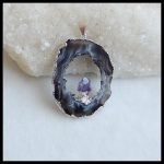 New Design Natural Stone Drusy Geode Brazil Agate With Amethyst Beauty Gemstone Necklace Pendant 50x36x8mm 12.02g