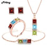 MoBuy 100% 925 Sterling <b>Silver</b> OL Style Natural Gemstone 4pcs Jewelry Sets For Women Engagement Fine Jewelry V012EHNR