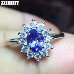 ZHHIRY Natural Tanzanite Ring Blue Gemstone Genuine Solid 925 <b>Sterling</b> <b>Silver</b> Real Gem Woman Fine <b>Jewelry</b>
