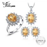 Jewelrypalace Diana Style Natural Citrine Ring Pendant Earring <b>Jewelry</b> Set Pure 925 <b>Sterling</b> <b>Silver</b> Fine <b>Jewelry</b> Set