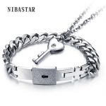 1 Set Couple Stainless Steel Bangle Bracelet and Key Pendant Necklace Sets With CZ Crystal <b>Fashionable</b> <b>Jewelry</b> Good Lovers Gifts