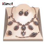 Kinel Luxury 4Pcs Gray Crystal Flower Bridal Wedding <b>Jewelry</b> Sets Antique Gold Color Turkey Earring Necklace Bracelet Ring Women
