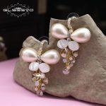 GLSEEVO Natural Fresh Water Pearl Drop Earrings For Women Butterfly Earrings 925s Fine <b>Jewelry</b> Dangling Woman Earrings GE0409
