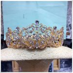 Vintage Gold Pearl Tiara Round Big Crown Crystal Rhinestones Bride Hair <b>Jewelry</b> Queen Crowns For <b>Wedding</b> Accessories
