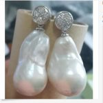 free shipping gorgeous 20-28mm south sea baroque white pearl <b>earring</b> 925s