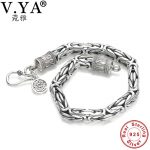 V.YA Genuine 100% Real Pure 925 Sterling <b>Silver</b> thick Men <b>bracelet</b> Safe Pattern <b>Bracelet</b> Free Shipping Men Fine Jewelry HYB04