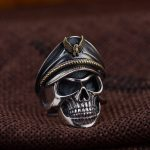 L&P 100% 925 <b>Sterling</b> <b>Silver</b> The officer Skull Ring For Men,Vintage Punk Rock Rings Fashion <b>Silver</b> <b>Jewelry</b> For Birthday Gife