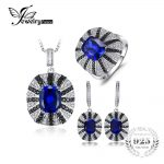 Jewelrypalace Luxury Unique Women Spinel Cocktail Ring Pendant Earrings Blue Sapphire <b>Jewelry</b> Sets 925 <b>Sterling</b> <b>Silver</b> New Retro
