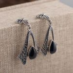 FNJ 925 <b>Silver</b> MARCASITE Earrings for Women <b>Jewelry</b> Hang Black Stone Original S925 <b>Silver</b> boucle d'oreille Drop Earring