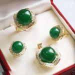 Lovely Women's Wedding shipping>><b>Jewelry</b> Green stone pendant Ring Crystal Set silver-<b>jewelry</b>