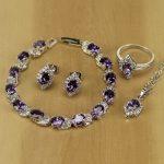 Sterling Silver <b>Jewelry</b> Purple Zircon White Crystal <b>Jewelry</b> Sets For Women Earrings/Pendant/Necklace/Rings/Bracelet T138