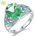 Hutang Stone <b>Jewelry</b> Genuine Green Fluorite Apatite Tourmaline 925 Sterling <b>Silver</b> Cocktail Ring Women Fine <b>Jewelry</b> For Gift