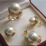 Women's Wedding > >1Set AAA 10mm &14mm White South sea Shell Pearl Earrings Necklace Ring Set A01 silver-<b>jewelry</b> earrings