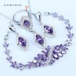 L&B Best Birthday Gift CZ Elegant Design Austria Crystal Stone Purple 4 Piece 925 Sterling Silver <b>Jewelry</b> Sets For Women