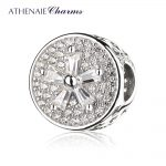 ATHENAIE 925 Sterling <b>Silver</b> Pave Clear CZ Flower Charm Bead Fit <b>Bracelets</b> Jewelry Gift