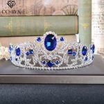 CC Tiaras And Crowns Luxury Shine Blue Rhinestone Baroque Style Queen <b>Wedding</b> Hair Accessories For Bridal Party <b>Jewelry</b> HG211