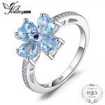 JewelryPalace 2.2ct Heart-Shape Natural Sky Blue Topaz Flower Trendy Rings 925 Sterling <b>Silver</b> Fine <b>Jewelry</b> For Women Party Gift