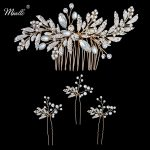 Miallo Newest Wedding Peals Hair Comb + 3pcs Hairpins for Bride Wedding Inlay Crystal Leaves Hair <b>Jewelry</b> Women