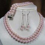 2Rows 8mm Pink South Sea Shell Pearl Necklace Bracelet Earrings Set AAA Grade Fashion <b>Jewelry</b> <b>Making</b> Design <b>Jewelry</b> Set BV92