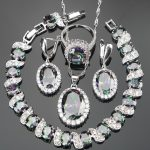 4PCS Bridal Jewelry Sets 925 <b>Silver</b> Nickle Free RainBow Stones <b>Bracelets</b>/Earrings/Pendant/Necklace/Rings For Women Gift Box