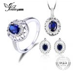 Jewelrypalace Oval 925 <b>Sterling</b> <b>Silver</b> <b>Jewelry</b> Set Blue Created Sapphire Ring Pendant Earring Clip Brand For Women Fine <b>Jewelry</b>