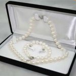 Women's Wedding Wholesale 8-9MM White A Akoya Cultured Pearl Necklace Bracelet Earring Set real silver mujer fine quality