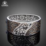 AZORA White Gold Color Luxury Party <b>Jewelry</b> Stellux Austrian Crystal Cuff Leopard Bangle Bracelet TB0076