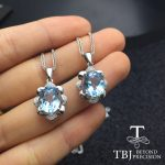TBJ,Natural 3ct sky blue topaz gemstone pendant ,Oval cut 8*10mm topaz in 925 sterling <b>silver</b> <b>jewelry</b> with chain and gift box