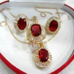 Women's Wedding fine 10*14mm red zircon earring pendant ring #6.7,8,9 silver mujer moda