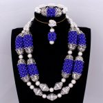 4UJewelry Fashion Bridal Jewelry Set <b>Silver</b> and Royal Blue Wedding Jewelry <b>Earrings</b> Necklace Bracelet Set Dubai Jewellery Set