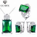 CC Jewelry Fashion Jewelry Set For Women 925 Sterling <b>Silver</b> Jewelry Green Stone CZ Wedding Sets Earring <b>Necklace</b> Ring CCAS119