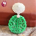 Exquisite Carving Flower Green Jade Women Necklaces 100% 925 <b>Sterling</b> <b>Silver</b> Ethnic <b>Jewelry</b> For Women SP11