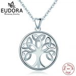 EUBORA 925 Sterling Silver Tree of Life Pendant <b>Necklace</b> Irish Celtics Knot Crann Bethadh Sliver <b>jewelry</b> For Women Girls Gifts