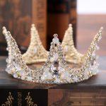 Baroque Large Crystal crown and tiaras Round Prom Queen Crown <b>Wedding</b> Pageant Big Vintage bride Tiara Bridal Hair <b>Jewelry</b>