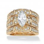 Size 5-11 Luxury <b>Jewelry</b> Pear Cut White AAA CZ 925 Silver&Gold Simulated stones <b>Wedding</b> Women 3 IN 1Ring For Couple set Gift