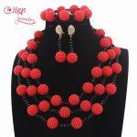 Nigerian 3 Layer Orange Plastic Pearl Ball Neclaces Women <b>Jewelry</b> African Wedding Beads <b>Jewelry</b> Set Free Shipping W13701
