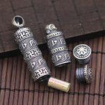 925 Sterling <b>Silver</b> Nepal Handmade Thai <b>Silver</b> Pendant Six Words Genuine Kwu Box <b>Necklace</b> Pendant Swastika Curse Pendant