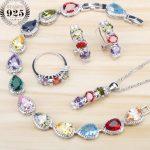 Multicolor Cubic Zirconia Women Jewelry Sets Bridal <b>Silver</b> 925 Jewelry Stones Earrings Rings <b>Bracelets</b> Pendant Necklace Set