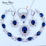 Best Wedding Gift For Women Blue Stones CZ Jewelry Sets 925 Stamp <b>Silver</b> Color Jewelry Earrings/Pendant/Necklace/Rings/<b>Bracelet</b>