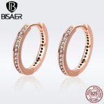 Authentic 925 Sterling Silver Clear CZ Round Circle Forever Hoop Earrings for Women Sterling Silver <b>Jewelry</b> Brincos Wedding Band