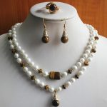Women's Wedding Gorgeous White green shell pearl Necklace pendant earrings ring sets 015 real silver-<b>jewelry</b>